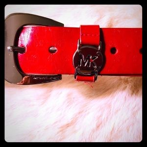 Micheal Kors Red Patent Leather Belt (M)